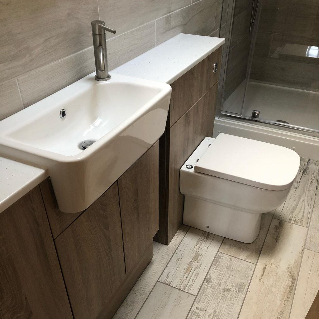 Wooden effect slimline bathroom units